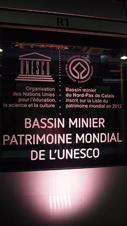 Affichage Unesco sur une rame de Tramway