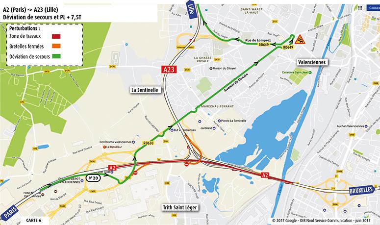 A2 Paris vers A23 Lille déviation secours
