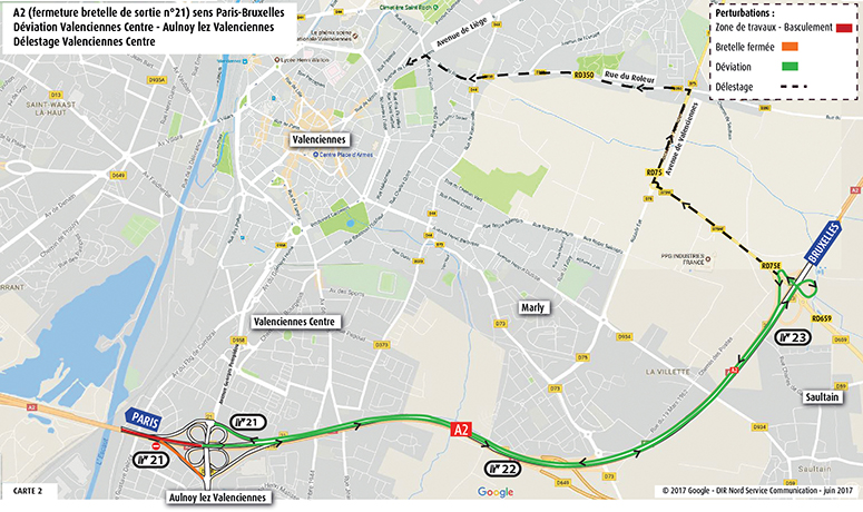 A2 vers Valenciennes Centre-Itinéraire de délestage