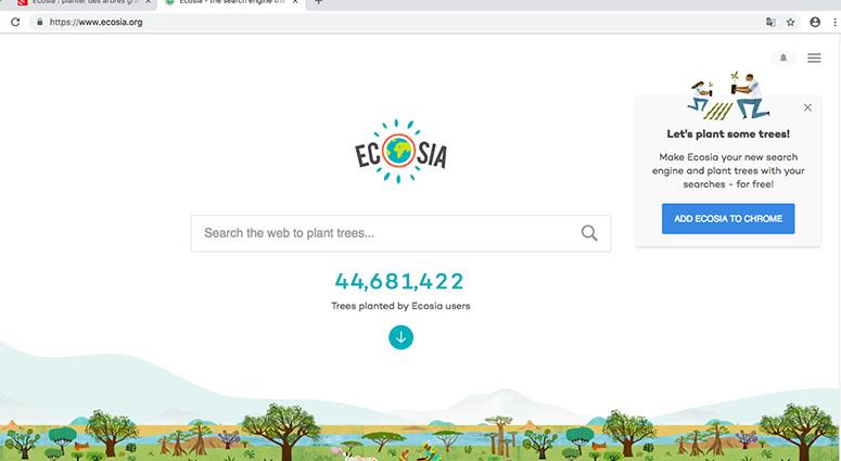 Surfez développement durable avec ECOSIA, le moteur de recherche vertueux